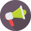 announcement, bullhorn, loud hailer, loudspeaker, megaphone icon