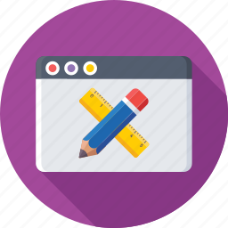 frontend, pencil, scale, web designing, website icon