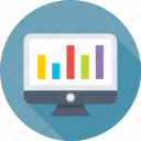analytics, bar chart, infographics, monitor, online graph icon