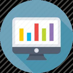 analytics, bar chart, infographics, monitor, online graph icon