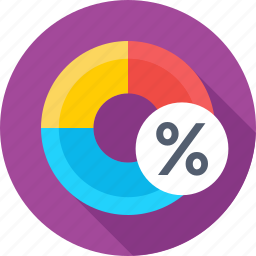 donut chart, interest, percentage, pie graph, taxation icon