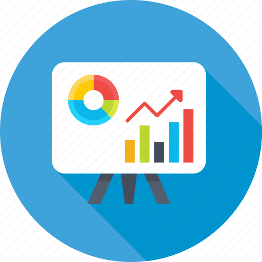 analytics, bar graph, graph, presentation, projection icon