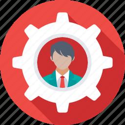 admin, cog, management, person, personalization icon