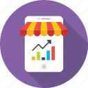 analytics, data, graph, mobile graphs, mobile shop icon
