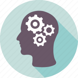 brainstorming, cog, creative, gear, head icon