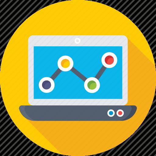 analytics, laptop, online graph, statistics, trending icon