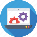 cog, development, laptop, laptop settings, preferences icon