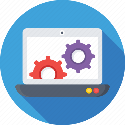 cog, development, laptop, laptop settings, preferences icon