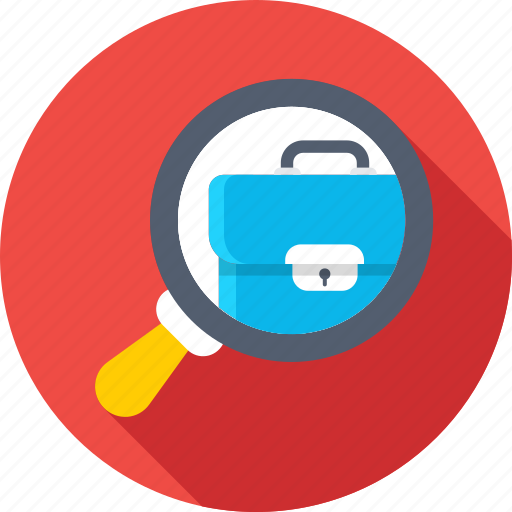 audit, briefcase, find job, magnifier, usability icon