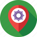 cog, gps, location, location setting, map setting icon