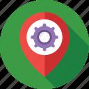 cog, gps, location, location setting, map setting icon