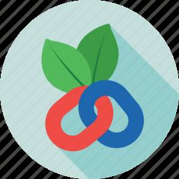 leaf, link, link building, organic seo, seo icon