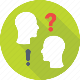 discuss, faq, head, interaction, question icon