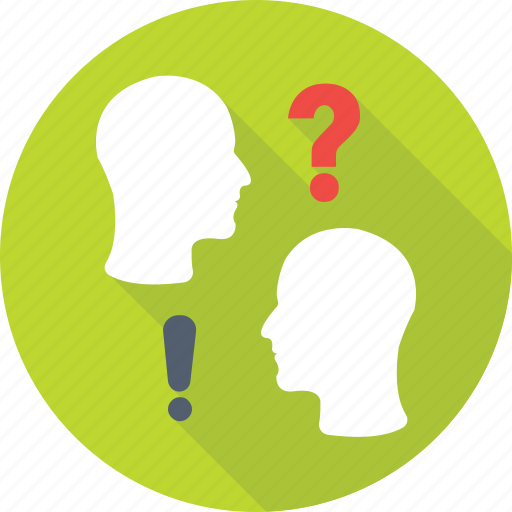 discuss, faq, head, interaction, question icon
