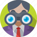 binoculars, observation, analyst, analysis, research icon
