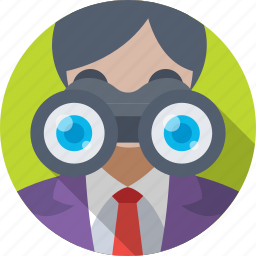 analysis, analyst, binoculars, observation, research icon