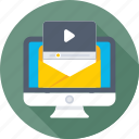 monitor, newsletter, subscribe, video, video marketing icon