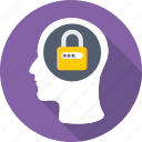confidential, head, lock, mind, privacy icon