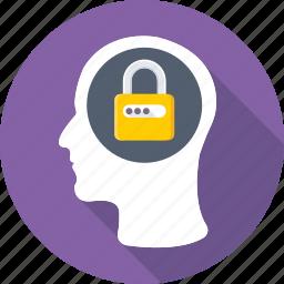 confidential, head, lock, mind, privacy icon