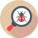 antivirus, bug, magnifier, virus, virus scan icon