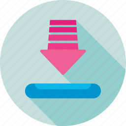 arrow, directional, down arrow, download, inbox icon