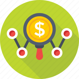 dollar, magnifier, optimization, search engine, seo icon