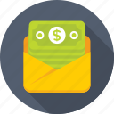 banknotes, envelope, money, sms alert, sms banking icon