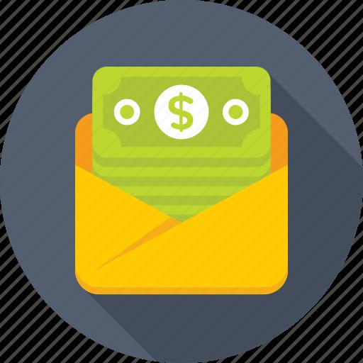 banknotes, envelope, money, sms alert, sms banking icon