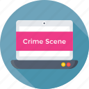 crime scene, investigation, laptop, seo, web profiling icon