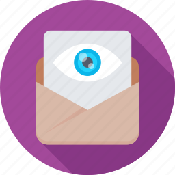 attachment, email, eye, find, view icon