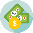 banknotes, coin, currency, dollar, money icon