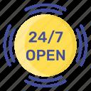 24hr service, customer center, customer support, helpline services, telephone service icon