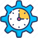 clock, gear, management, time, timing icon