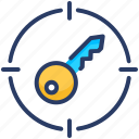 research, target, search, keywords icon