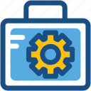 briefcase, cog, gear, optimization, tools kit icon