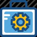 briefcase, cog, gear, optimization, tools kit icon