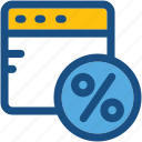 online off, percent, percentage, web page, website discount icon