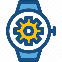 cogs, smartwatch, smartwatch app, watch settings, wristwatch icon