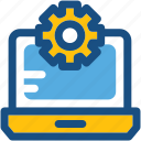 cog, cogwheel, laptop configure, laptop settings, settings icon