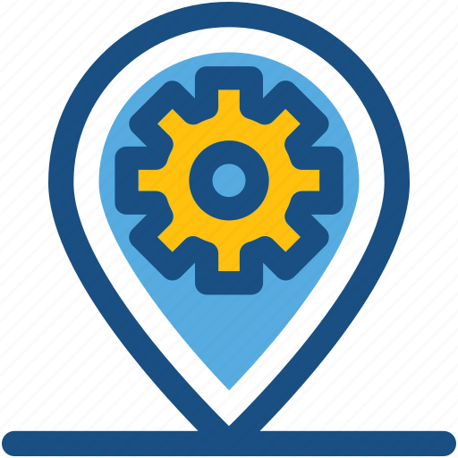 cog, location pointer, location setting, map marker, map setting icon