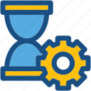 cog, hourglass, loading, processing, sand glass icon