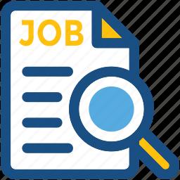 employment, human resource, job post, job search, magnifier icon
