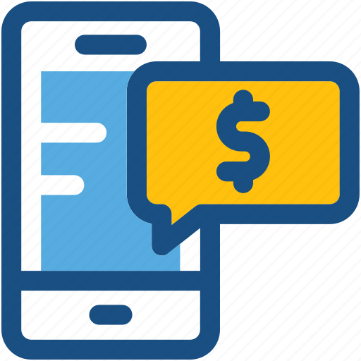 business talk, chat bubble, dollar, mobile, mobile marketing icon