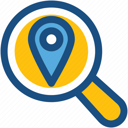 find place, local seo, magnifier, map pin, search location icon