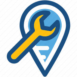 location pointer, location setting, map marker, map setting, wrench icon