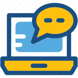 blog commenting, chat balloon, laptop, online chatting, seo icon