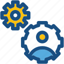 cog, man, profile setting, thinking, user icon