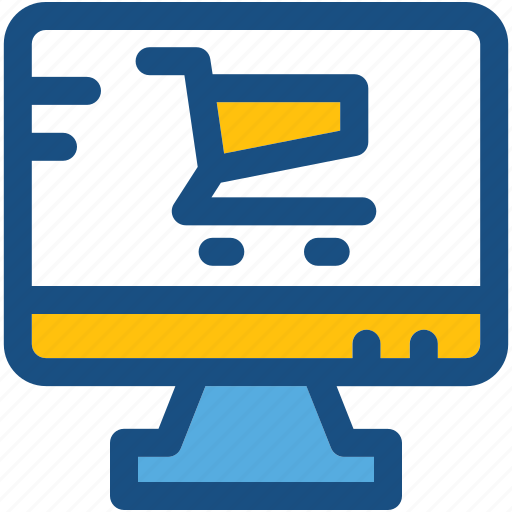 e commerce, e shop, monitor, online shopping, shopping cart icon