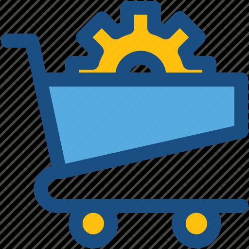 cog, cog in cart, shopping cart, shopping cart preferences, shopping cart setting icon