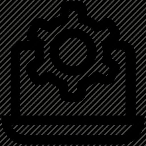 browser, gear, laptop, marketing, seo, setting, setup icon